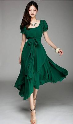 green Irregular hem full- skirted chiffon dress #ahaishopping