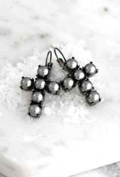 Cross Earrings Cross Drop Earrings Pearl Earrings Gunmetal  Click to purchase >> http://etsy.me/2gYMNax