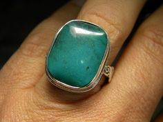 Large turquoise Ring in Sterling silver by nikiforosnelly on Etsy