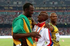 World Athletics Championships 2015: day eight – in pictures   Sport   Then gets a congratulatory hug from Usain Bolt
