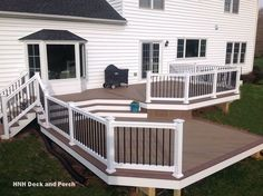 What an unique looking deck from our good friend Henry with HNH Deck & Porch down in Maryland. He used out White Deck Teck Vinyl Rails with Black Aluminum Balusters. Deck With Pergola, Pergola Shade, Pergola Patio, Pergola Plans, Backyard Patio, Pergola Ideas, Pergola Decorations, White Pergola, Pergola Kits