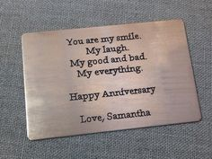 Anniversary Wallet Card Insert, Gift for him, Mens Gifts, Birthday, Wedding gifts, Gifts for Men, Graduation Gift