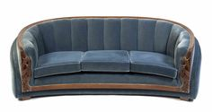 An Art Deco Style Upholstered Sofa,the frame with stylized bellflower and nailhead decoration, raised on block feet. Art Deco Sofa, Vintage Sofa, Upholstered Sofa, Art Deco Fashion, Sofas, Sweet Home, Couch, Antiques, Furniture