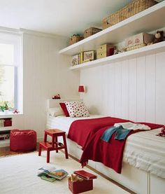 Possible idea for J's room to convert it for two renters: twin beds end to end - great idea for small spaces; like the shelves too.