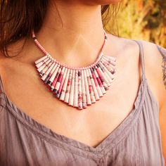 ZezeCraft&Design Classic Collection Necklace 01 (ZCDCCN01) #recycle #necklace #paperbead #zezecraftdesign
