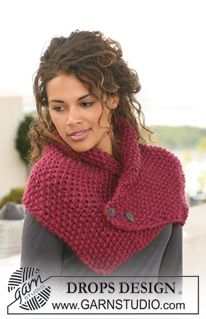 "DROPS neck warmer in moss st in ""Eskimo"". ~ DROPS Design pretty and this is very simple."