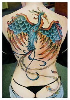 karine's colored phoenix tattoo on back