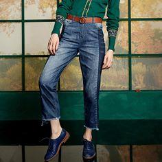 Elf Sack autumn thin irregular stitching jeans female cotton cowboy pantyhose| elfsack