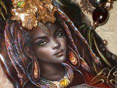 """Кулоны, подвески ручной работы. Ярмарка Мастеров - ручная работа. Купить Кулон-колье """"Африка"""". Handmade. Коричневый, лаковая миниатюра"""