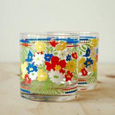 Vintage Georges Briard Floral Tumblers Glasses Rainbow. $14.00, via Etsy.