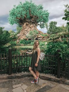 At the Animal Kingdom Tree of Life wearing a casual olive shift dress outfit with ISKAY colorful handmade shoes, @kutukakiss bracelets, and @violetrayny backpack.