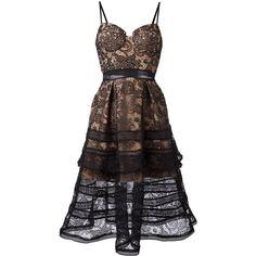 Self-Portrait lace flared dress (1.120 BRL) via Polyvore featuring dresses, black, flared hem dress, lace fit-and-flare dresses, flare dress, self portrait dress e lacy dress