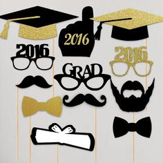 Celebrate the Class of 2016 with this awesome 12 piece photobooth set! Made with glitter and thick cardstock, these full size props are the perfect