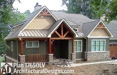 3 bed Craftsman house plan designed for a sloping lot with the master on main and two more beds on the walkout basement. Lake House Plans, Craftsman House Plans, House Floor Plans, Craftsman Ranch, Cabin Plans, Craftsman Style, Basement House, Walkout Basement, Basement Bathroom