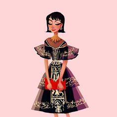 A quick #metsona doodle before bed! I really want to sew this dress now / / / / #art #metgala2018 #metgala #fashion #fashionillustration #illustration #characterdesign #dress #design #fashiondesign #makeup #hairstyles #visdev #visualdesign #visualdevelopment
