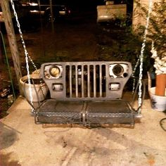 Upcycled Vintage Jeep Grill Lighted Wall Decor Repurpose
