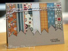 (Could use washi tape!) Good use of scraps.make someone feel special and create a homemade card for their next occassion. Card Making Inspiration, Making Ideas, Cute Cards, Diy Cards, Washi Tape Cards, Card Sketches, Masculine Cards, Paper Cards, Creative Cards