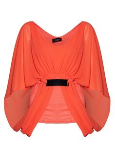 Knia Coral Loose Batwing Style Blouse Top Coral Blouse