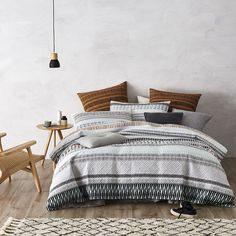 Combining soft, natural colour with a tribal inspired design, the Nomad quilt cover is perfect for creating a modern look in any bedroom and has been made from soft cotton for a luxurious feel. Pair with the coordinating European pillowcases to recreate this look in your home.