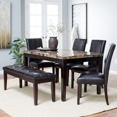 Simple silhouettes, understated elegance - Modern/Contemporary 6 piece dining room set with bench and chairs.
