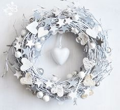 all white christmas wreath - Google Search