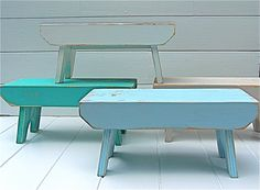 Vintage Style Step Stool No 1 in Aqua Handmade by CircleCreekHome, $27.00