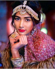 Bridal charm  Pooja hedge looks ethereal on the cover of Femina in Sabyasachi ! #traditional #indianculture #pretty #mathapatti #rings #kada #polki #kundan #diamonds #gold #bangles