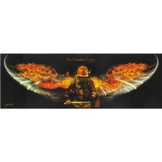 """Accent décor with this Fireman Wings Tin Sign.    Made to hang on the wall, this sturdy tin sign measures approximately 20"""" x 6 1/2""""    Full text: No Greater Love... John 15:13"""