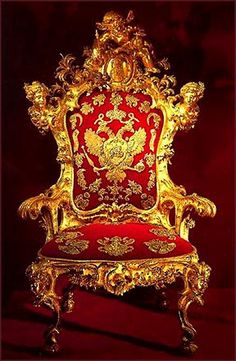 Trono da czarina Elizabeth, daugter de Pedro, o Grande, Throne Chair, Throne Room, King's Throne, Peter The Great, Catherine The Great, Hermitage Museum, Imperial Russia, Crown Jewels, Red Gold