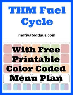 THM Fuel Cyclewith Free color coded Menu Plan #weightloss #fitness