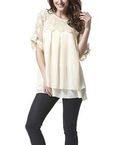 Look what I found on #zulily! Beige Lace Pleated Swing Top by Simply Couture #zulilyfinds