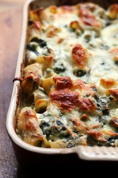 Spring Vegetable Rigatoni Bake!  The vegetables outnumber the pasta in this cheesy spring vegetable rigatoni bake, filled with asparagus, Swiss chard, and peas.
