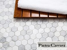 "$8.95/SF Free Shipping Carrara Marble 2"" Hexagon Floor Tile available online. Free Shipping thru Spring 2017. #carrarahexagon"
