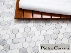 $8.95 a Square Foot Carrara Pietra Marble Hexagon Floor Tile available online and Free Shipping thru Jan 2016. #carrarahexagon