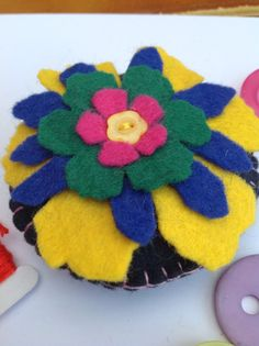 This item is unavailable True Colors, Colours, Felt Pincushions, Blue Green, Yellow, Blanket Stitch, Black Felt, Sewing Tools, Sewing Accessories