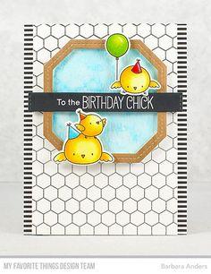 Honeycomb Background, Birthday Chicks stamp set and Die-namics, Single Stitch Line Tag-Corner Square Frames Die-namics — Barbara Anders #mftstamps