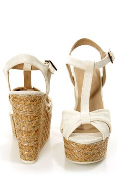 LuLu*s Vegan Shoes: Soda Kose Off White Linen T-Strap Platform Wedge Sandals