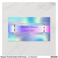 Shop Elegant Trendy Stripe Gold Frame Holographic Business Card created by Biglibigli. Gold Business Card, Elegant Business Cards, Craft Box, Holographic, Things To Come, Create, Paper, Prints, Design