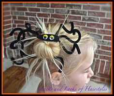 Halloween Spider Hairstyle, or even crazy hair day Pigtail Hairstyles, Cute Girls Hairstyles, Creative Hairstyles, Crazy Hairstyles, Pigtail Braids, Hairdos, Crazy Hair Day At School, Crazy Hair Days, Coiffure Hair