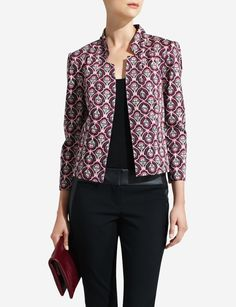 Collarless Print Jacket | Women's Jackets | THE LIMITED