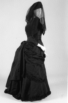"""c1880 Victorian Mourning Dress. Scanned from the book """"Gothic - Dark Glamour"""""""