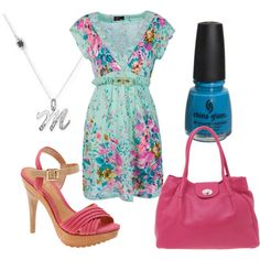 Aqua Floral, created by pickleparty on Polyvore