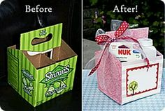 Reuse old box as a gift box (: