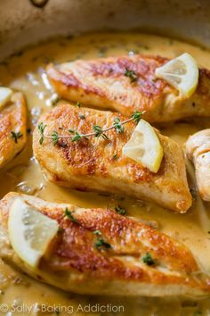 One skillet is all you need to create this crispy chicken paired with creamy lemon thyme sauce!