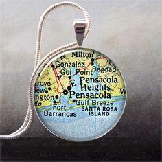 Pensacola Florida Vintage Map pendant by thependantemporium on Etsy.