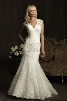 Silm fitted gown off shoulder Cap short sleeves lace throughout ...