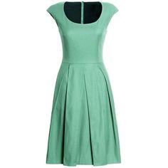 Canvas by Lands' End Women's Pleated A-Line Dress ($165) ❤ liked on Polyvore featuring dresses, green, a line dress, a line summer dresses, green a line dress, green graduation dresses and pleated a line dress