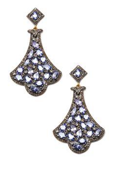 Tanzanite & Champagne Diamond Chandelier Earrings