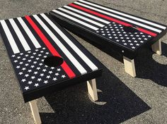 Thin Red Line Cornhole Boards - Fire Fighter Flag Boards, Red Line American Flag Boards, Fireman American Flag, Red Thin Line Corn Hole Diy Cornhole Boards, Cornhole Set, Unique Woodworking, Woodworking Projects, Fireman Crafts, Diy Yard Games, Firefighter Gifts, Firefighter Decals, Firefighter Family