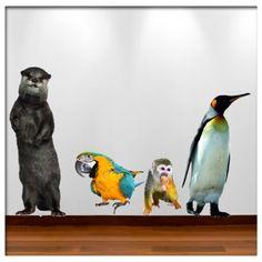 Muursticker set 8: otter, papegaai, aapje en pinquin